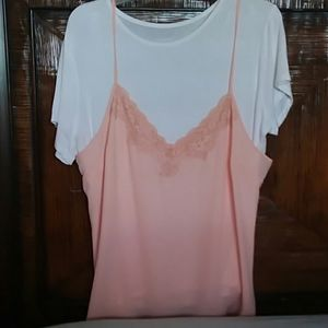 NY & CO, white and peach, twofer top